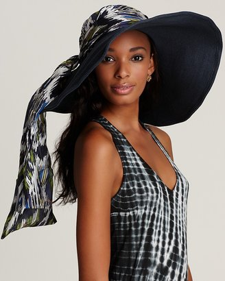Sun hat with silk scarf from the San Diego Hat Company